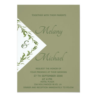 Greenery elegant  geometrical leaves branch sage card