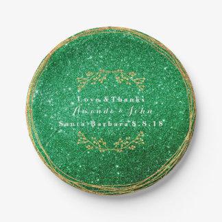Greenery Emerald Green Gold Floral Glitter VIP Paper Plate