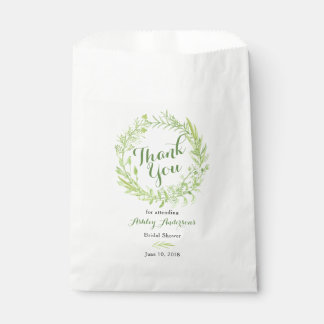 Greenery Floral Wreath Bridal Shower Thank You Favour Bag