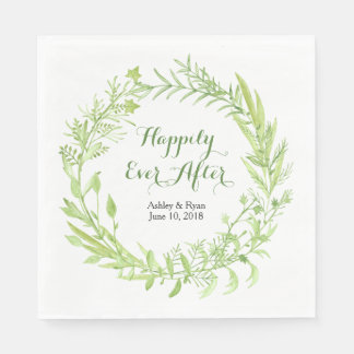 Greenery Floral Wreath Wedding Disposable Napkin