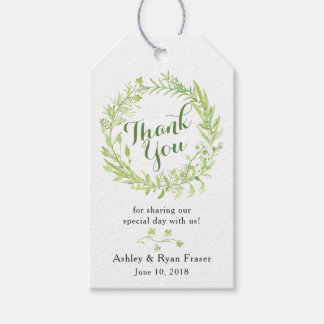 Greenery Floral Wreath Wedding Thank You Gift Tags