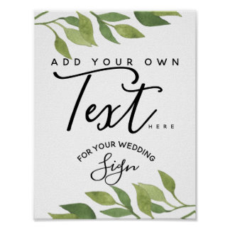 greenery foliage custom wedding party sign