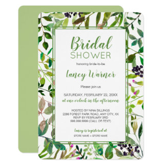 Greenery Frame bridal shower invite