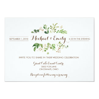 Greenery Frame Greens Wedding Invitation