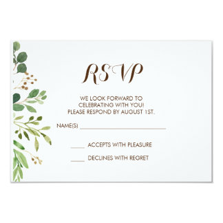 Greenery Frame Greens Wedding Invitation RSVP Card