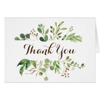 Greenery Frame Greens Wedding Thank You Card