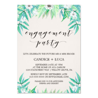 Greenery Garden Botanical Wreath Engagement Party Card