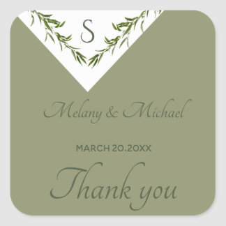 Greenery geometrical leaves branch thank you square sticker