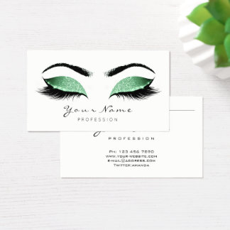 Greenery Glitter Makeup Artist Lashes Eco Cosmetic Business Card
