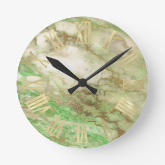 Greenery Gold Mint Marble Sepia Minimal Black Round Clock