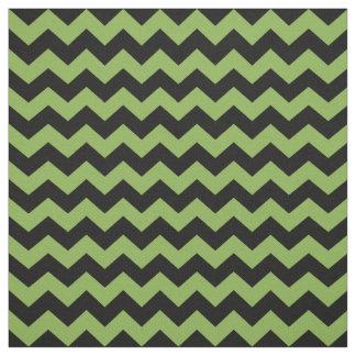 Greenery Green Black Zigzag Chevrons 2017 Pattern Fabric