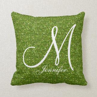 GREENERY GREEN glitter white Monogram YOUR NAME Cushion