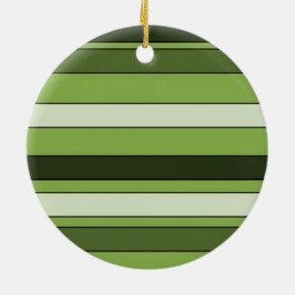 Greenery Green Horizontal Stripes Pattern Elegant Ceramic Ornament