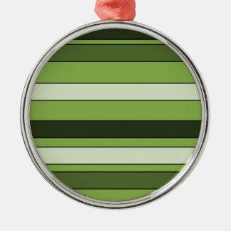 Greenery Green Horizontal Stripes Pattern Elegant Metal Ornament