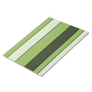 Greenery Green Horizontal Stripes Pattern Elegant Notepad
