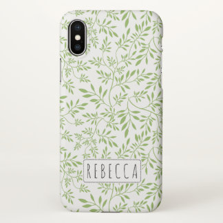 Greenery green leaves pattern with name iPhone x case