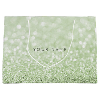 Greenery Green White Glitter Favor Gift Bag