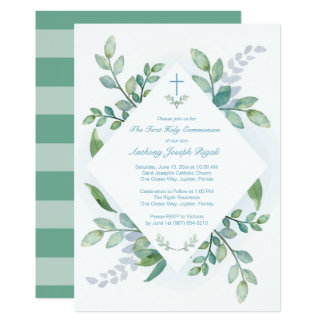 Greenery Holy First Communion Invitation