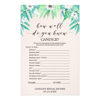 "Greenery ""How Well Do You Know The Bride"" Game Flyer"