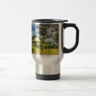 Greenery in a resort stainless steel travel mug