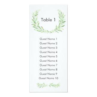 Greenery Laurel Wreath Guest Seating Plan Card