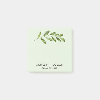 Greenery Leaves Modern Wedding Post-it Notes