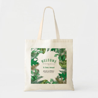 Greenery Leaves Weekend Wedding Event Welcome Tote Bag
