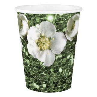 Greenery Mint Green Glitter Flower White Jasmin Paper Cup