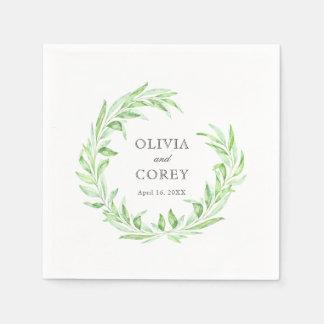 Greenery Open Laurel Wreath Wedding Disposable Serviettes