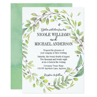 Greenery Rustic watercolor WREATH Foliage WEDDING Card