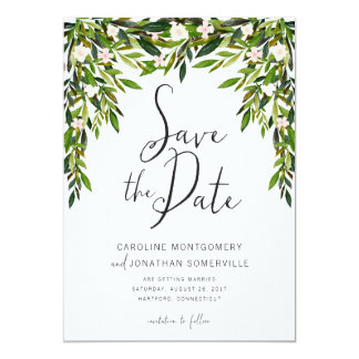 Greenery Save the Date Card Full Names