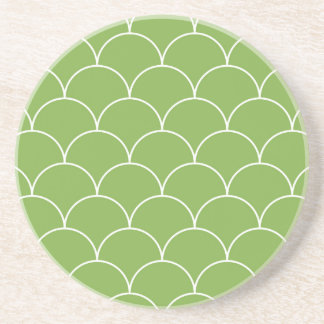 Greenery scales pattern drink coaster