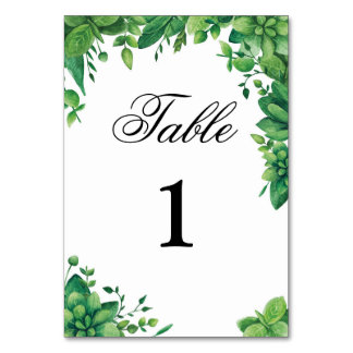 Greenery table number. Garden wedding. Green table Card