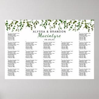 Greenery Vines Wedding Reception Seating Chart