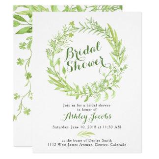 Greenery Watercolo Wreath Bridal Shower Invitation