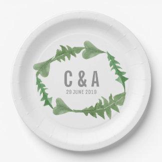 Greenery Watercolor Foliage Wedding Paper Plate