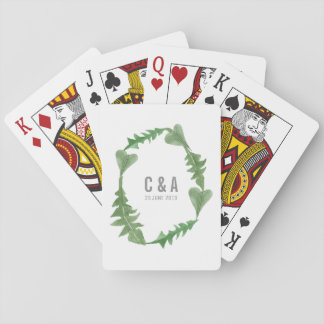 Greenery Watercolor Foliage Wedding Playing Cards
