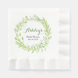 Greenery Watercolor Wreath Bridal Shower Paper Napkin