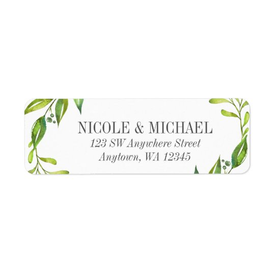 Greenery Watercolor Wreath Return Address Return Address Label