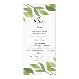 Greenery wedding menu foliage country TEMPLATE