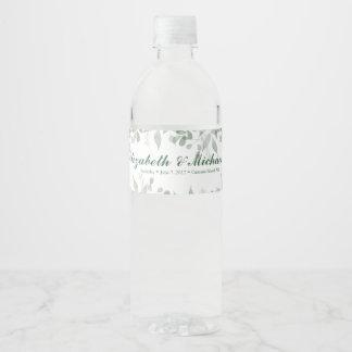 Greenery Wedding Personalized Water bottle Label