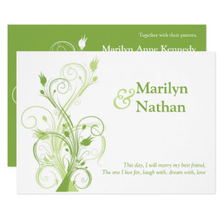 Greenery, White Floral Wedding Invitation