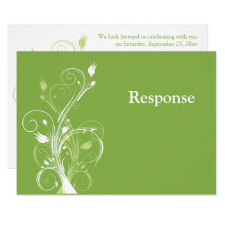 Greenery, White Floral Wedding RSVP Card
