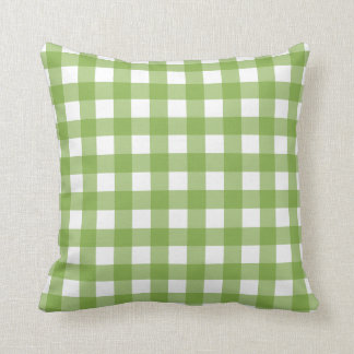 Greenery & White Gingham Check Throw Pillow