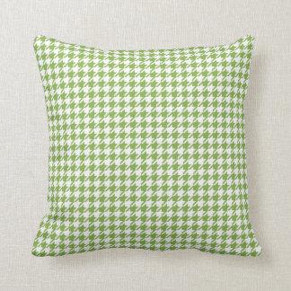 Greenery & White Houndstooth Throw Pillow