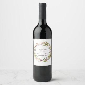 Greenery Wreath Marsala Floral Boho Wine Label
