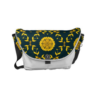 greenish black and golden yellow geometric floral commuter bag