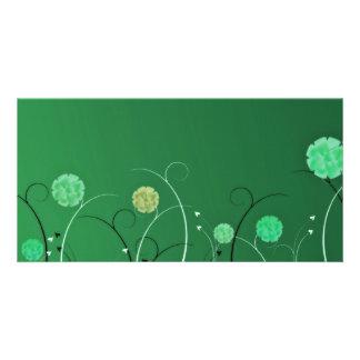 Greenish blossom and black swirls custom photo card