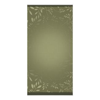 Greenish Leaves pattern wedding gift Photo Card