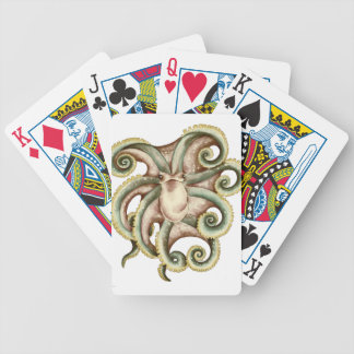 Greenish octopus bicycle playing cards
